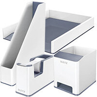 Leitz WOW Desk Tidy White & Grey Bundle - Sound Booster Pen Holder & Letter Tray & Magazine File & Tape Dispenser
