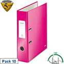 Leitz WOW Pink Lever Arch File A4 Pack 10