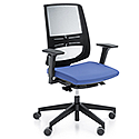 LightUp Modern Design Mesh Office Chair With Lumbar Support & Adjustable Arms Blue Fabric Seat