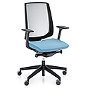 LightUp Modern Design Ergonomic Mesh Office Chair Sky Blue Fabric Seat