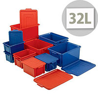 Storemaster Maxi Crate With Lid 32L Blue L470xW340xH240mm