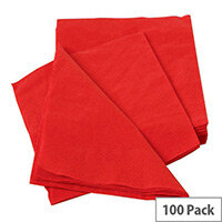 Maxima Paper Napkins 2-Ply Tissue 400x400mm Red Pack of 100