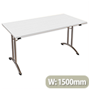 Folding Table Rectangular Chrome Legs 25mm Top W1500xD750xH725mm White Morph Fold