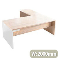 Mito Executive Desk 2000mm With Left Hand Desk Return Light Sycamore & White