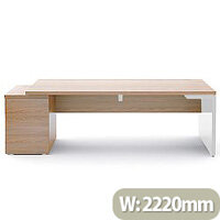 Mito Executive Desk With Left Hand Pedestal 2220mm Light Sycamore & White