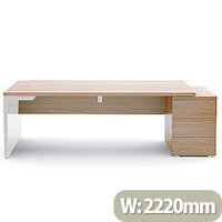 Mito Executive Desk With Right Hand Pedestal 2220mm Light Sycamore & White