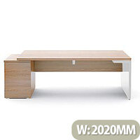 Mito Executive Desk With Left Hand Pedestal 2020mm Light Sycamore & White