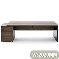 Mito Executive Desk With Left Hand Pedestal 2020mm Dark Sycamore & Black