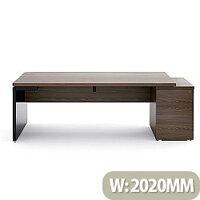 Mito Executive Desk With Right Hand Pedestal 2020mm Dark Sycamore & Black
