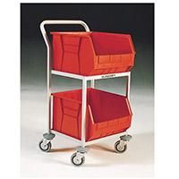 Mobile Storage Trolley c/w 2 Bins Red 321292