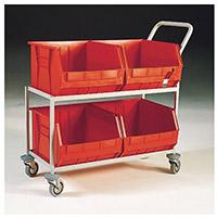 Mobile Storage Trolley c/w 4 Bins Red 321297