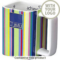 Branded Square Earthenware Mug - Customise with your brand, logo or promo text