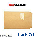 New Guardian C4 Manilla Envelopes Window Press Seal Heavyweight Pocket Pack 250