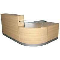Complete Curved Reception Unit Light Oak Finish With Glass Counter
