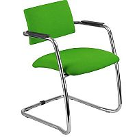 O.Q. Series Chrome Frame Green Stackable Meeting Chair With Semi Open Back and Sled Base