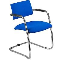 O.Q. Series Chrome Frame Blue Stackable Meeting Chair With Semi Open Back and Sled Base