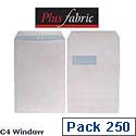 Plus Fabric White Envelopes C4 Window Press Seal Pocket 120gsm (Pack of 250)