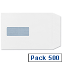 Plus Fabric C5 White Envelopes Pocket Press Seal Window Pack 500