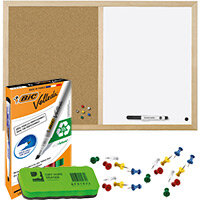 Pin Board Home Office Bundle - Cork and Drywipe Combination Board 900x600mm & Whiteboard Marker Pk 4 & Push Pins Pk 20 & Drywipe Eraser