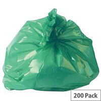 2Work Polymax Refuse Sacks 100L Colour Coded Green Pack of 200. Supplied Flat Packed For Efficient Storage. Made From 100gsm Plastic. Ideal For Use In Recycling Systems, Schools, Homes, Offices, Colleges & More.