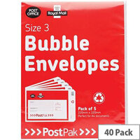 Post Office Postpak Size 3 Bubble Lined Envelopes 220x320mm Pack of 40