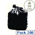 2Work Black Light Duty Refuse Sacks 90 Litres Pack of 200 KF73375