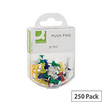 Q-Connect Push Pins Assorted Colours Pack 10 x 25