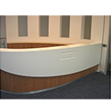 Customised Reception Desk Wooden White Solid Surface Counter RD105