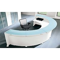 Circular Reception Desk White Glass Counter RD14