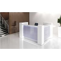 Valde Small L-Shaped Reception Unit  Modern High Gloss White Illuminated Finish RD21