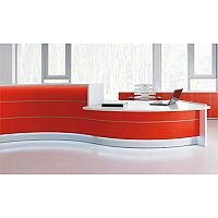 Valde Curved High Gloss Illuminated Reception Unit Modern White Red Finish RD23