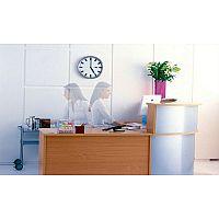 Ashford L-Shaped Modular Reception Desk Beech Steel Finish RD42