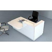 Linea Minimalist Design Small Reception Desk Gloss White RD49