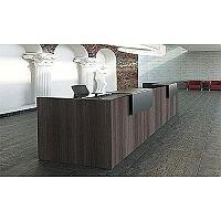 Dritta Large Straight  Reception Desk Brown Plane Tree Finish Black Metal Counter Platform RD52