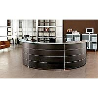 Circular Reception Unit Wenge Finish Glass Counter Top Luna RD54