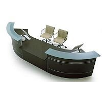 Curved Reception Desk Wenge Glass Counter Top RD58