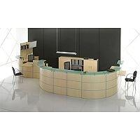 U-Shape Reception Desk Light Beech Finish Glass Counter Rock RD62