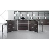 Curved Receptionist Desk Wenge Glass Counter Top RD65