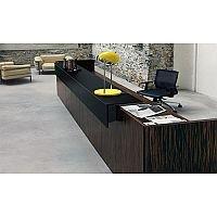 Dark Wood Finish Straight Design Reception Desk Black  Counter Top Fact RD68