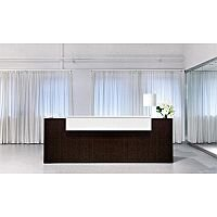 Dark Wood Finish Straight Design Reception Desk White  Counter Top Fact RD69