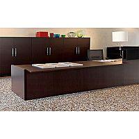 Large L-Shaped Dark Wood Modular Reception Desk Black Counter Top RD70