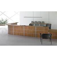 Large L-Shaped Wooden Reception Desk Pearwood Finish Rock RD73