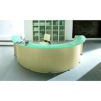 Circular Reception Desk Light Wood Glass Counter Top RD77