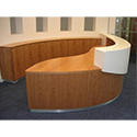 Wooden Rounded Front Reception Desk With White Solid Surface Counter Top RD80