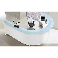 White Circular Reception Desk Glass Counter Top RD85