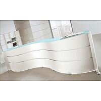 White Curved Glass Counter Top Reception Unit RD87
