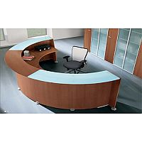 Circular Reception Unit Cherry Finish Glass Counter Top RD88