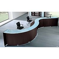 Waved Style Reception Unit Wenge Finish With Glass Counter Top RD89