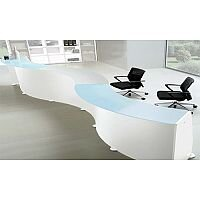 White Minimalist Design Curved Reception Unit Glass Counter Top RD90