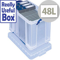 Plastic Storage Box 48 Litre Stackable Clear Really Useful